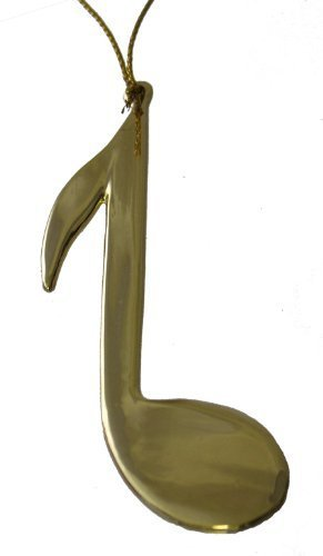 3.125″ Musical Note Christmas Ornament (Gold) by BHB Glass & More