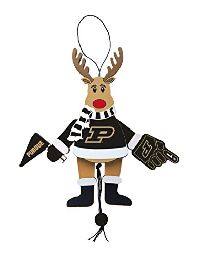 NCAA Purdue Boilermakers Wooden Cheer Ornament, Brown, 5.25″