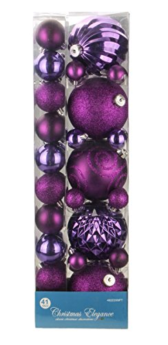 Assorted Christmas Purple Decorative Orbs and Ornaments – 41 Pack