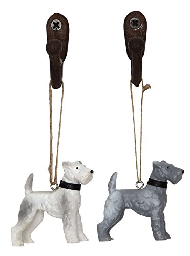 Set of Two Wire Haired Fox Terrier Dog Christmas Ornaments – 2 Colors