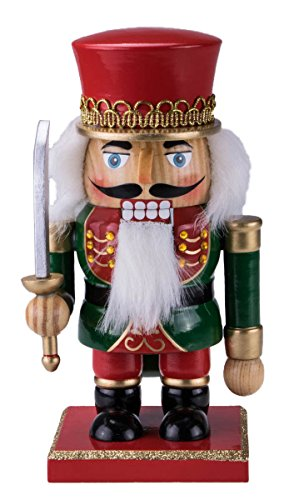 Chubby King Nutcracker Decoration Figure with Hat and Sword – 7″ Red, Green, Gold, and Blue