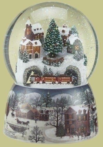 Musical Revolving Train Dome Globe