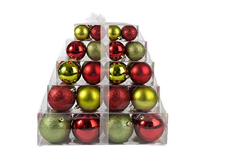 Christmas Green and Red Assorted Shatterproof Orbs and Ornaments Cake Box – 40 Pack