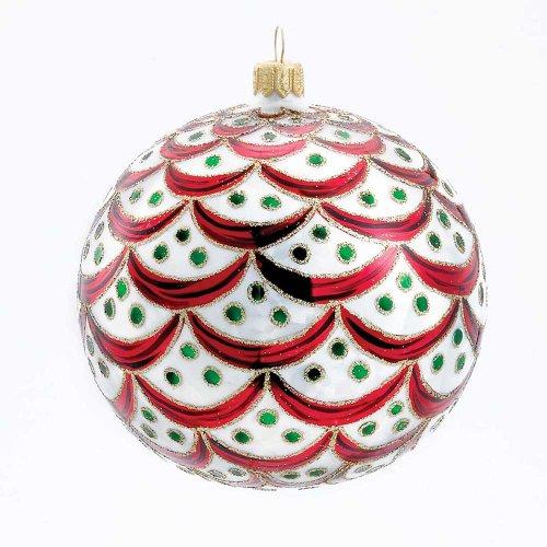 Kurt Adler Glass Regency Ball Ornament, 5.1-Inch