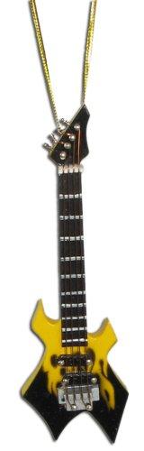 Miniature Yellow Flame Warlock Electric Guitar Christmas Ornament 4″