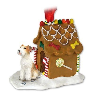 WIRE HAIR FOX TERRIER Dog NEW Resin GINGERBREAD HOUSE Christmas Ornament 59 by Conversation Concepts