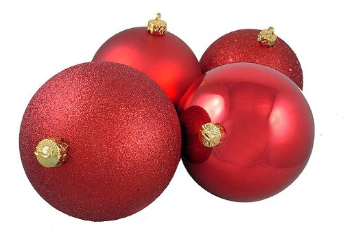 4ct Red Hot Shatterproof 4-Finish Christmas Ball Ornaments 6″ (150mm)