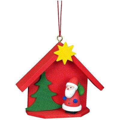 """10-0817 – Christian Ulbricht Ornament – Santa with House – 2″""""H x 2.5″""""W x .75″""""D"""