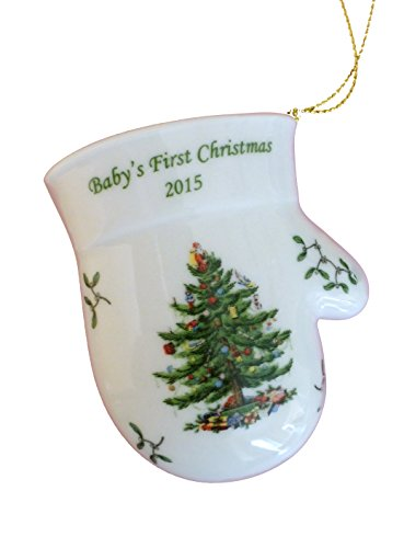 Spode Christmas Tree Baby's First Christmas Annual Mitten Ornament ~ Dated 2015
