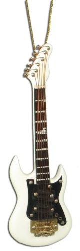 Miniature White Electric Guitar Christmas Ornament 4″