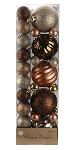 Assorted Christmas Copper and Brown Decorative Orbs and Ornaments – 41 Pack