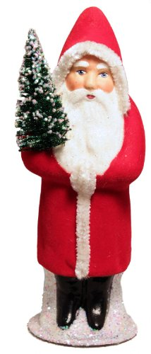 Ino Schaller Red Flocked Santa German Paper Mache Candy Container Germany