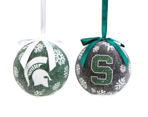 Michigan State Boxed LED Ornament Set