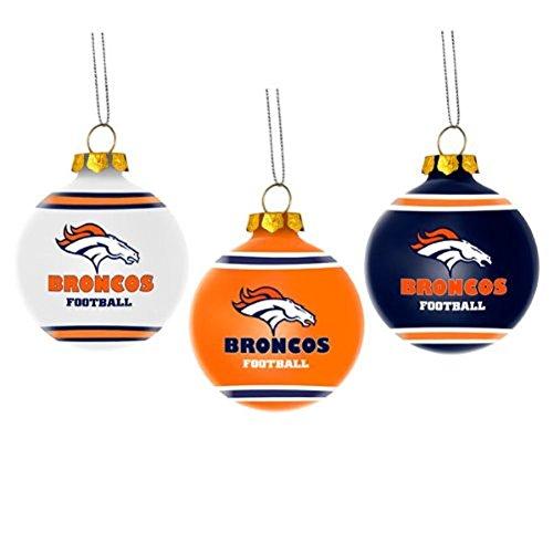 NFL Glass Ball Christmas Ornament Set of 3-Denver Broncos