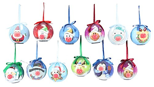 Blinking Light up Animated Christmas Ornaments – Set of 12 Assorted – 3.25 Inch