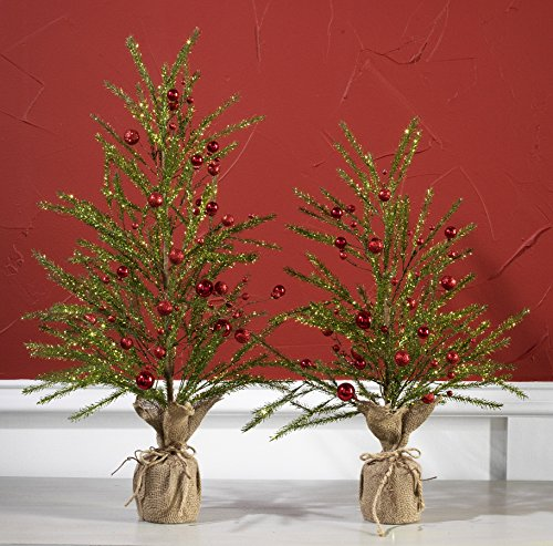 30 Inch Glittered Christmas Pine Tree with Ornaments in Burlap Base – 2.5 Foot Tabletop Tree