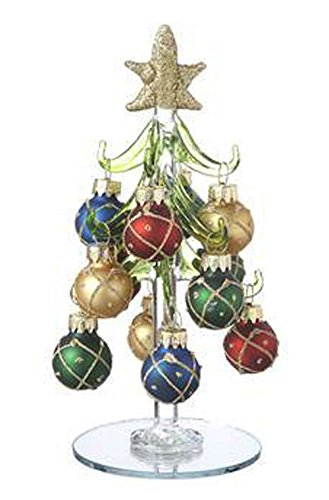 Golden Glitter Ornaments on Glass Christmas Trees by Ganz