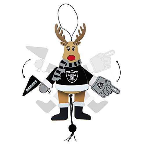 NFL Oakland Raiders Wooden Cheer Ornament, Brown, 5.25″