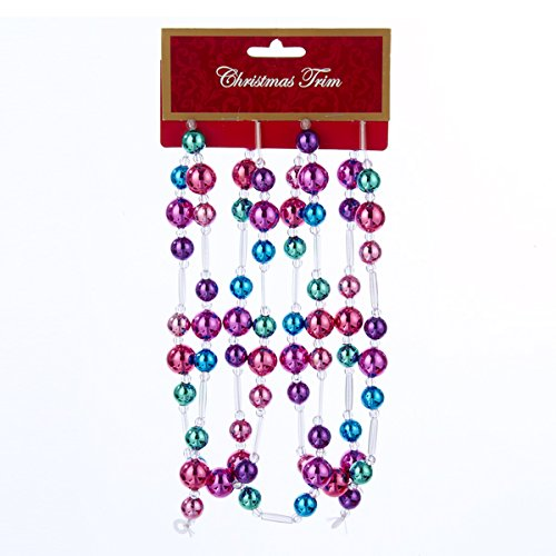 Kurt Adler Pink, Aqua & Purple Beads Garland