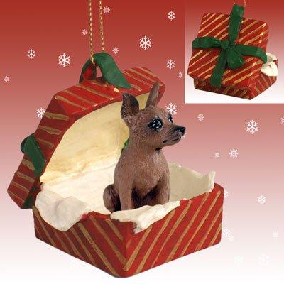 Conversation Concepts Miniature Pinscher Red & Brown Gift Box Red Ornament