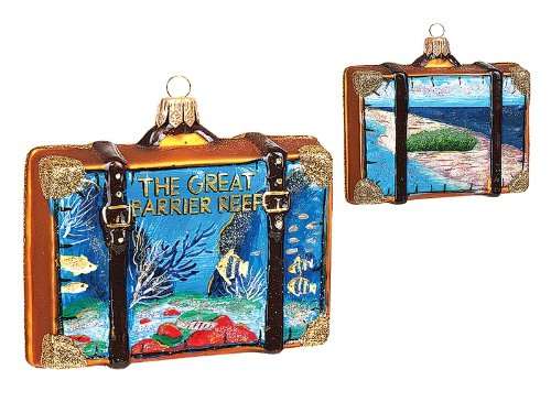Great Barrier Reef Travel Suitcase Polish Glass Christmas Ornament Decoration