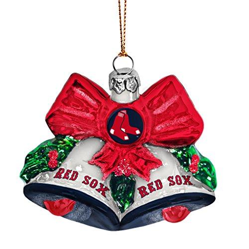 MLB Boston Red Sox Glitter Bells Ornament, Green, 3″ x 3″