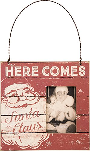 Here Comes Santa Mini Frame Ornament by Primitives By Kathy 5″ Square