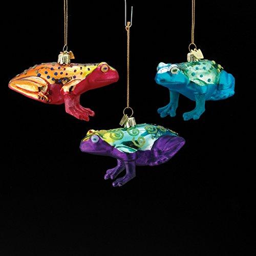 Kurt Adler 3.75″ Noble Gems Bright Pattern Frog Glass Ornament 3/asstd.