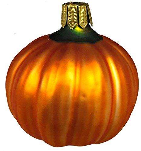 Small Orange Pumpkin German Blown Glass Christmas Tree Ornament Decoration