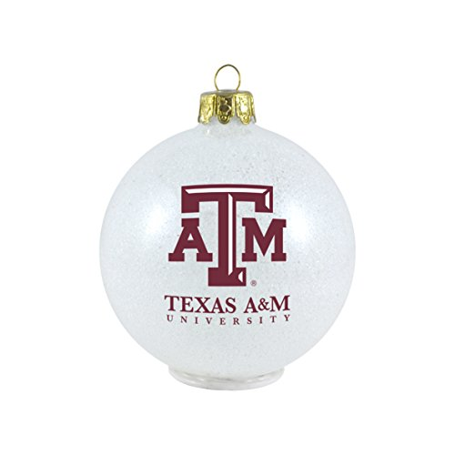 NCAA Texas A&M Aggies LED Color Changing Ball Ornament, 2.625″, White