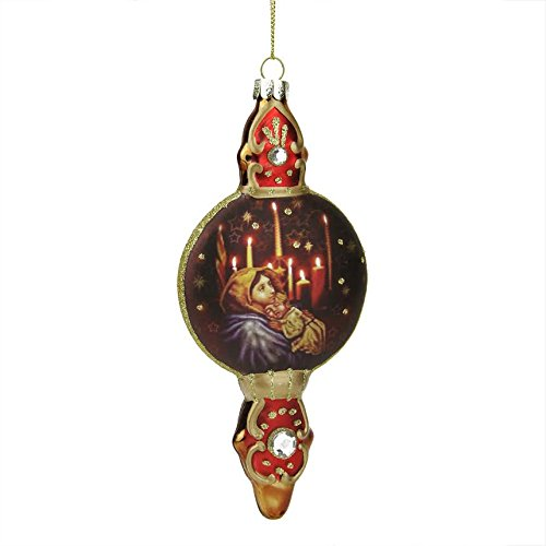 6.5″ Red and Gold Mary with Baby Jesus Religious Glass Finial Christmas Ornament