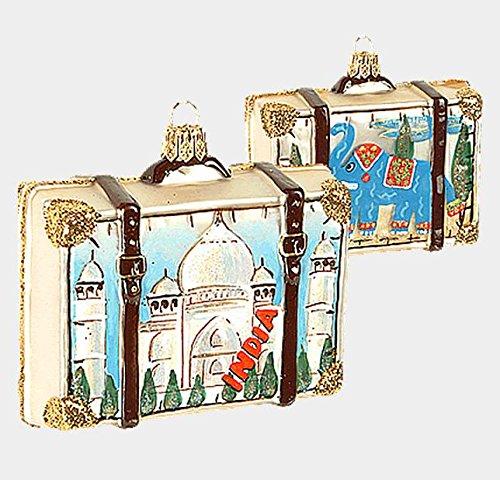 India Travel Suitcase Polish Glass Christmas Ornament Decoration Taj Mahal