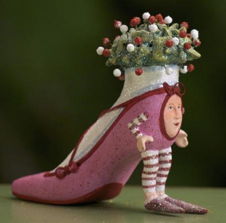 Patience Brewster Krinkles Magenta High Heel Shoe Christmas Ornament