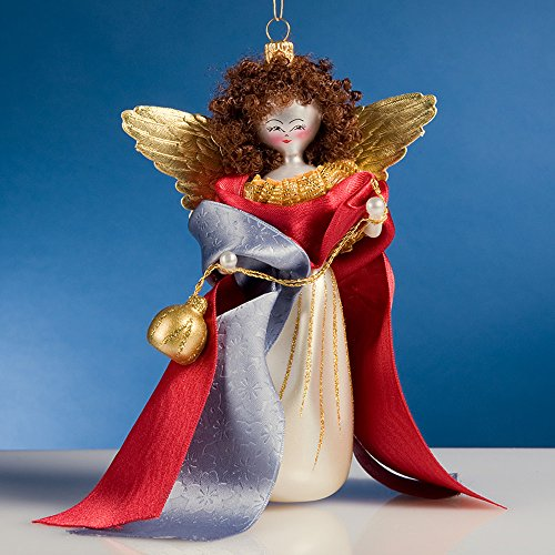 De Carlini Napolitan Angel with Lantern Italian Glass Christmas Ornament