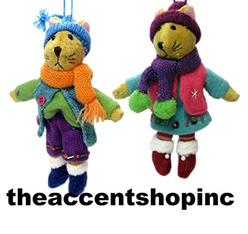 Boy and Girl Kitty Cat Dressed for Winter Holiday Ornaments Set of 2 Midwest CBK