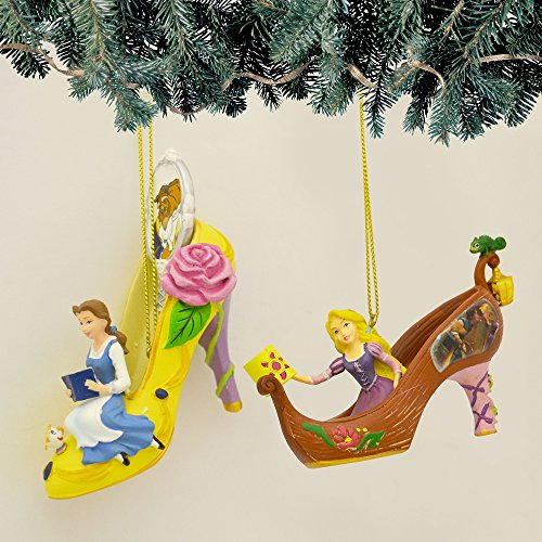 Disney Once Upon a Slipper Ornament Set #14 Bell and Rapunzel