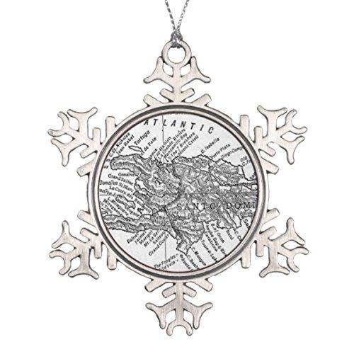 Follies Christmas Vintage Map of Haiti (1911) Snowflake Pewter Christmas Ornament
