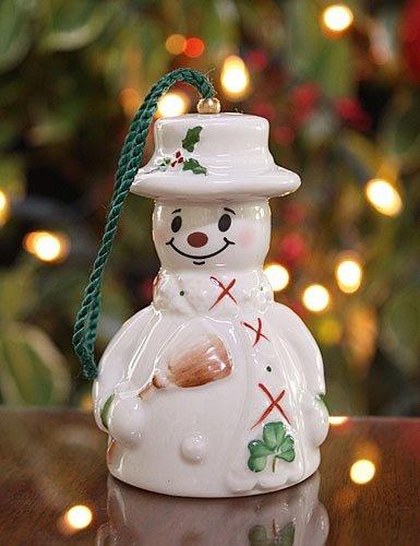 Belleek Snowman with Broom Ornament, 3.5″