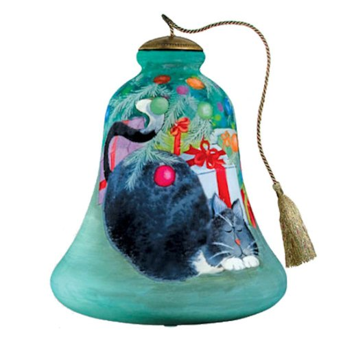 Purrrfect Christmas Hand Painted Glass Ornament