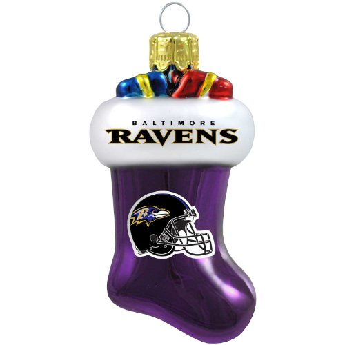 NFL Baltimore Ravens Blown Glass Stocking Ornament