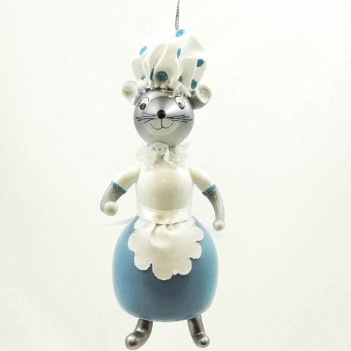 De Carlini Mouse Lady Ornament – Blown Glass 6.75 IN
