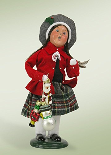 10″ Caroler Girl with Glass Ornaments Christmas Table Top Decoration
