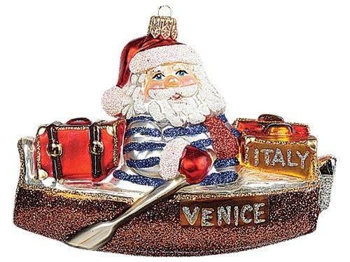 Italian Santa Polish Blown Glass Christmas Ornament Venice Italy Decoration