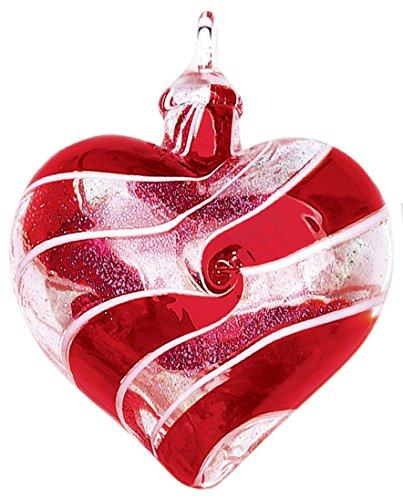 Glass Eye Studio Designer Red Spin Heart Ornament