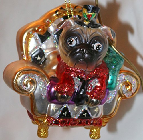 December Diamonds Blown Pug Dog on Gold Sofa Ornament.