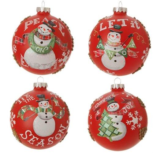 RAZ 4″ Snowman Ball Ornament – 4/pk assortment