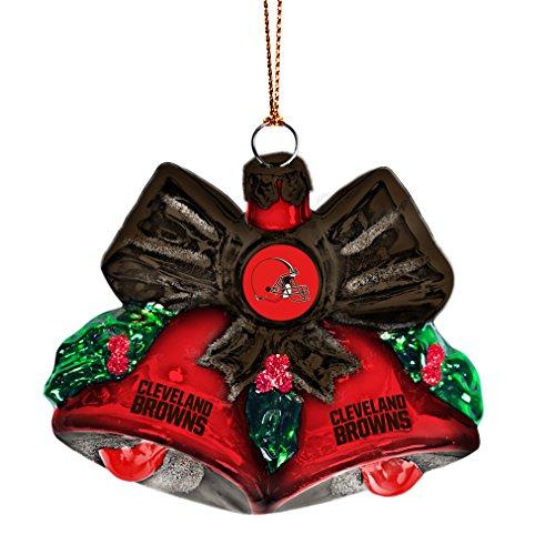 NFL Cleveland Browns Glitter Bells Ornament, Green, 3″ x 3″