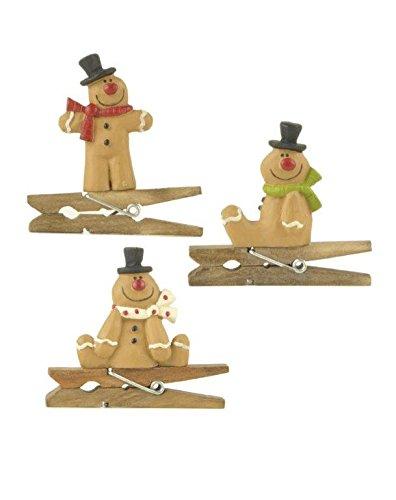 Blossom Bucket Gingerbread Ornaments Christmas Decor (Set of 3), 2″ High