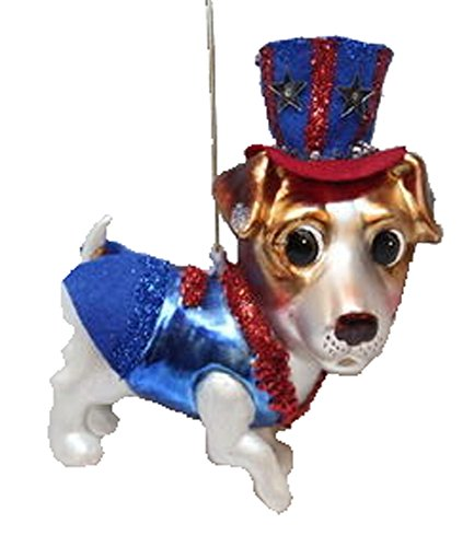 December Diamonds Blown Glass Ornament – Patriotic Jack Russell Terrier