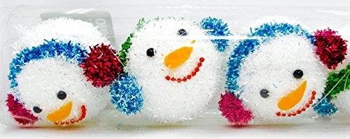 Christmas Snowman Ornaments,6 Fuzzy White Bulbs,earmuffs